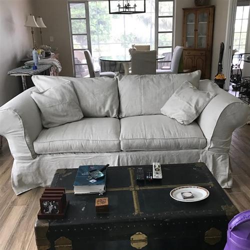 linen sofa slipcover dark grey corner sofabed mitchell gold kathleen 85