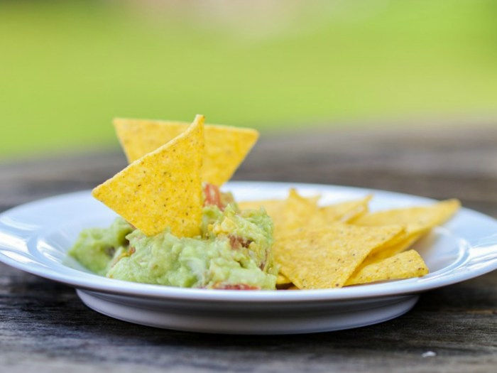 image of a bowl of guacamole and corn chips