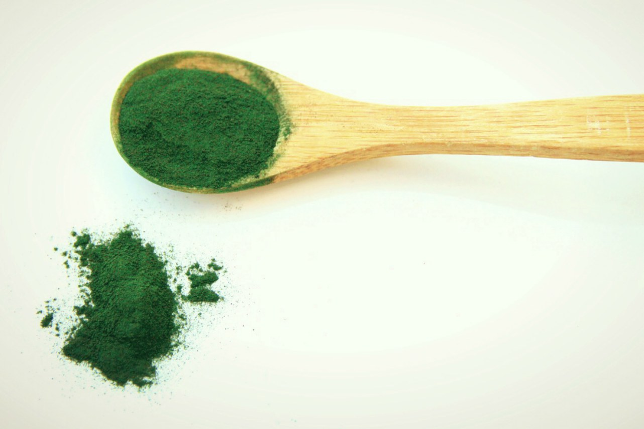 An image of a spoonful of spirulina