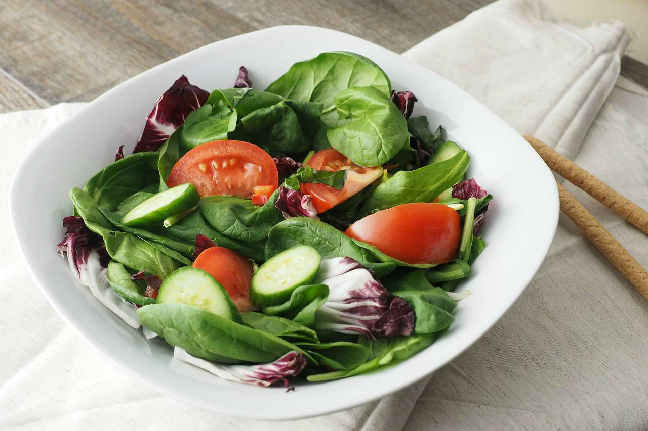 An image of a bowl containing a salad with lettuce, tomato, and cucumber
