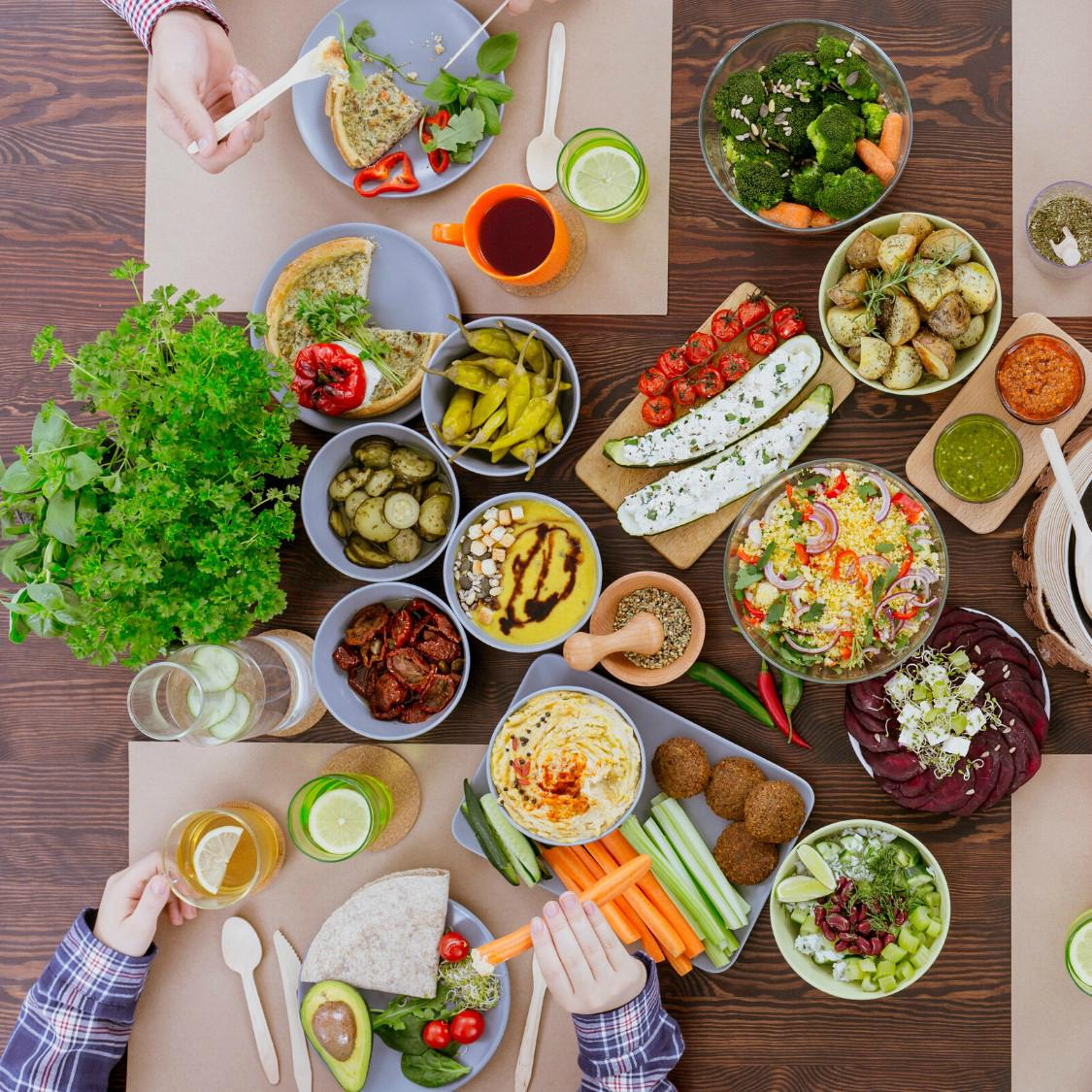 An image of a table full of healthy foods.