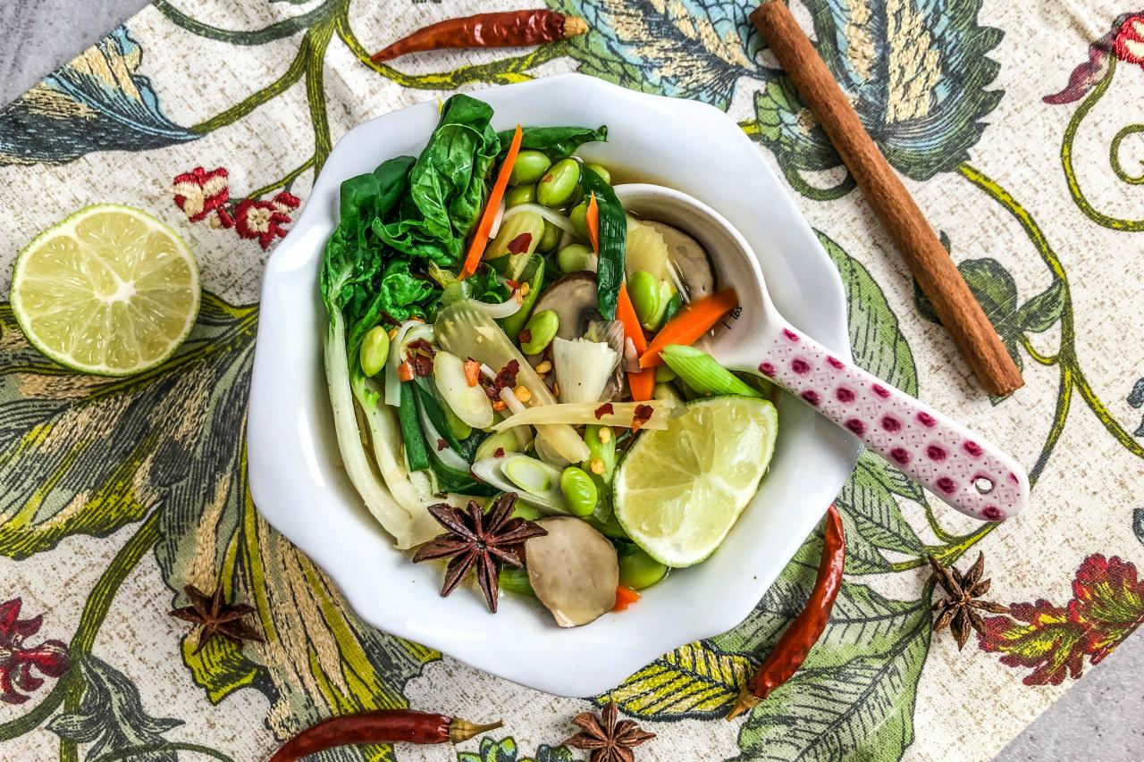 An image of a bowl of plant-based pho.