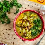 An image of a bowl of Leek Potato Corn Chowder