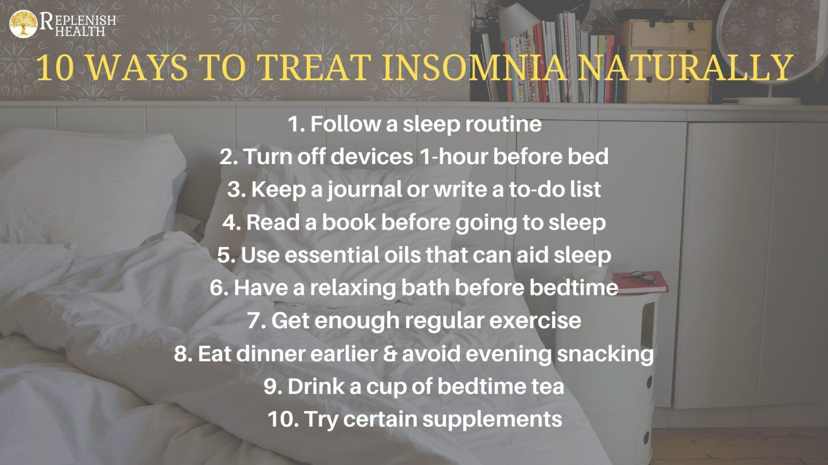An image of a printable of 10 ways to treat insomnia naturally