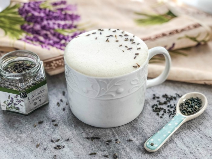 An image of a lavender London fog latte.