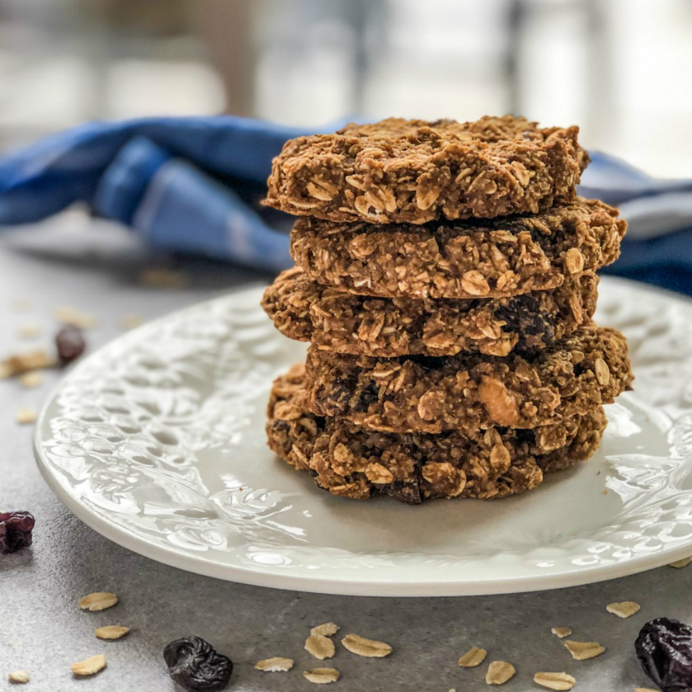 An image of a stack of Oatmeal Raisin Cookies