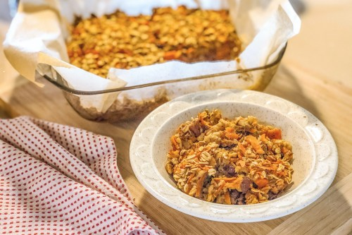 An image of a bowl of Carrot Cake Baked Oatmeal