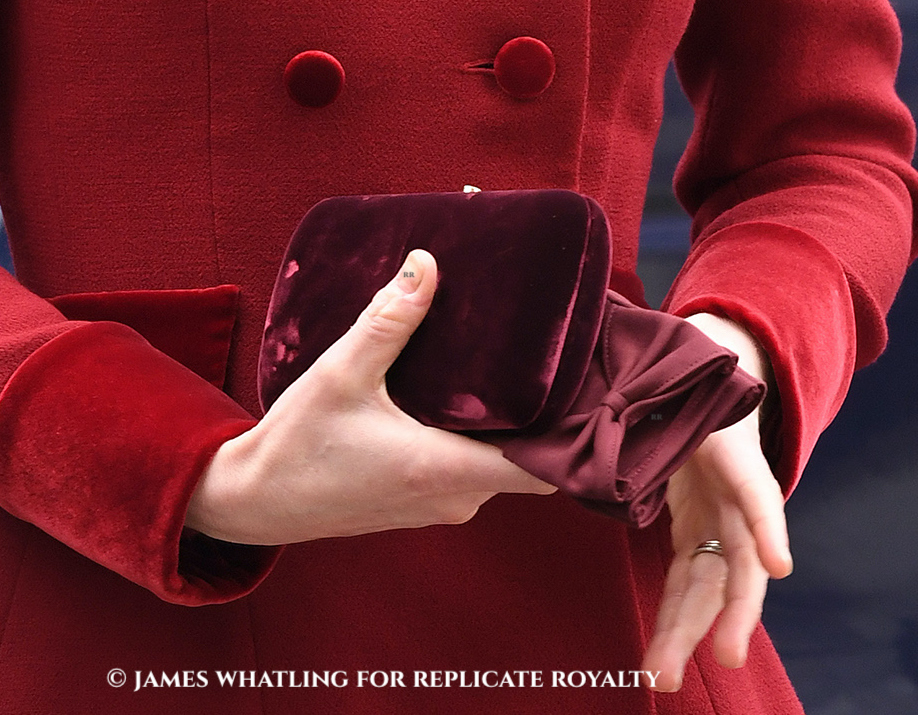 Duchess Kate carries a velvet Prada clutch at Westminster Abbey for Commonwealth Day