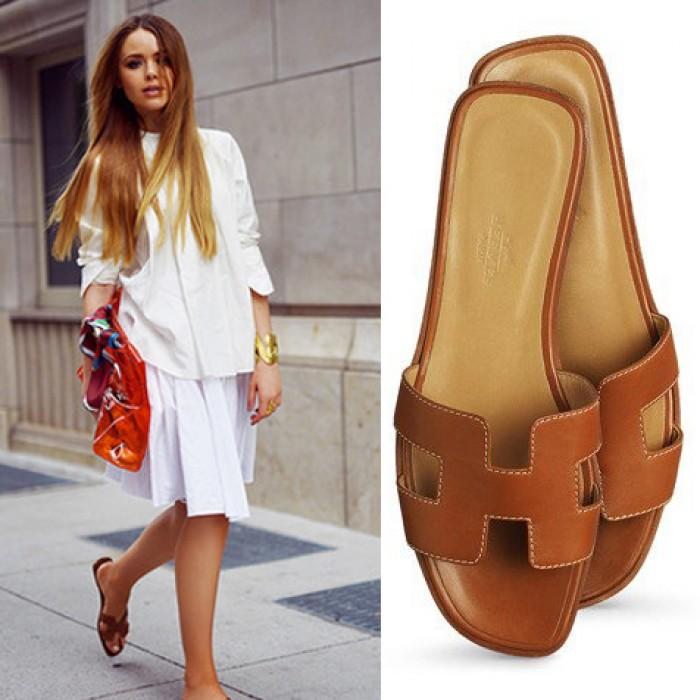 Top Quality Original Design H Sandals Calf Leather Brown
