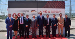 Mustafa Rama and Prime Ministers and Ministers of Energy and Stavileci Gjiknuri inauguration ceremony of the interconnection line Albania - Kosovo on June 26, 2016. The line has not been used yet.  Photo courtesy: Ministry of Energy and Industry