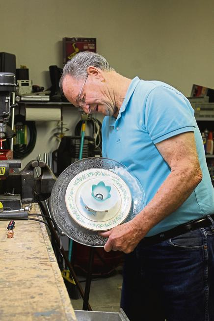 Dennis Swartz has a fully equipped workshop to create the beautiful yard decorations he enjoys giving as gifts. He will have a booth at the Spring Fest, Saturday, May 4, at First Christian Church, where he will sell his artistic creations. (Bev Reeves / For the Loveland Reporter-Herald)