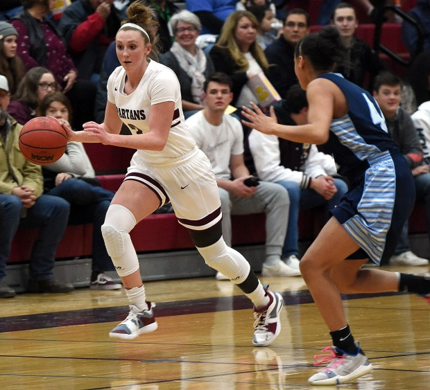 Berthoud's Emily Cavey takes the ball ...