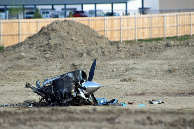 The nose of a plane that crashed near Larimer County Road 30 is seen Wednesday. (Hans Peter / Reporter-Herald)