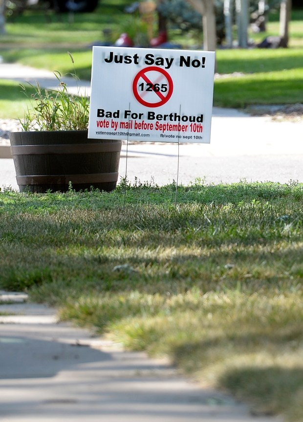 A sign about the special election in Berthoud is displayed in a yard on the 700 block of Eighth Street in Berthoud on Thursday. (Jenny Sparks/Loveland Reporter-Herald)