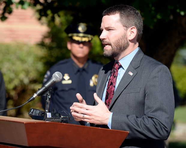 LOVELAND, CO - SEPTEMBER 20, 2019: Fran Lanzer, executive director for MADD, speaks about the impact this team can have saving lives and stopping drunk drivers during an event to announce the creation of the new Northern Colorado Remove All Impaired Drivers (RAID) Team Friday, Sept. 20, 2019, at the Loveland Police Department. The NoCo RAID Team is a multi-jurisdictional team of law enforcement officers currently made up of personnel from the Loveland Police Department, Windsor Police Department and Larimer County Sheriff's Office who are dedicated to detecting impaired drivers and enforcing traffic safety laws. (Jenny Sparks/Loveland Reporter-Herald)