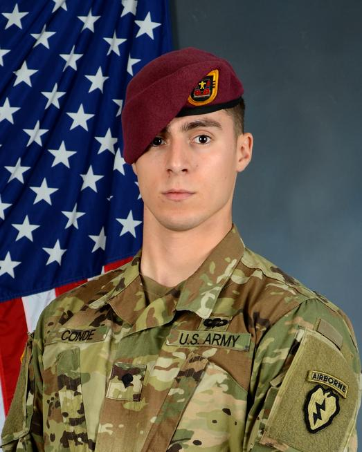 Spc. Gabriel David Conde was killed in action April 30, 2018, while serving in Afghanistan.