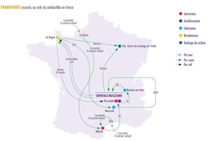 La carte de France des transports d'uranium dans ses différents états
