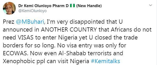 VISA For Africans Coming Into Nigeria, Kemi Olunloyo Reacts