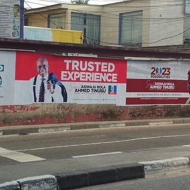2023: Bola Tinubu Presidential Election Posters spotted in Parts Of Lagos