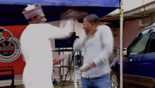 The Slapping Brekete, TV Host, Ahmed Isah Caught In Another Assault Video Slapping Man He Accused Of 'Writing Names Without His Permission'