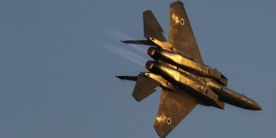 An Israeli air force F-15 fighter jet flies during pilot graduation ceremony at Hatzerim air base