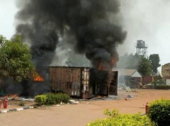 Container on fire in INEC's Anambra State office [Channels Television]
