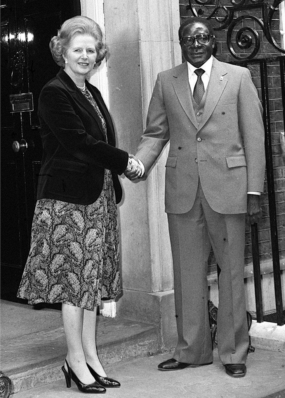 Mugabe, seen here with UK Prime Minister Margaret Thatcher in 1980, initially pursued a policy of reconciliation with his white former enemies, letting them keep their economic wealth.
