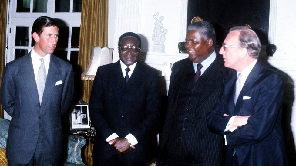 Mugabe was the only leader Zimbabwe had known since independence. He is seen here, (second from left) in March 1980, with the Prince of Wales, Zimbabwe African People's Union (Zapu) leader Joshua Nkoma and Britain's Foreign Secretary, Lord Carrington.