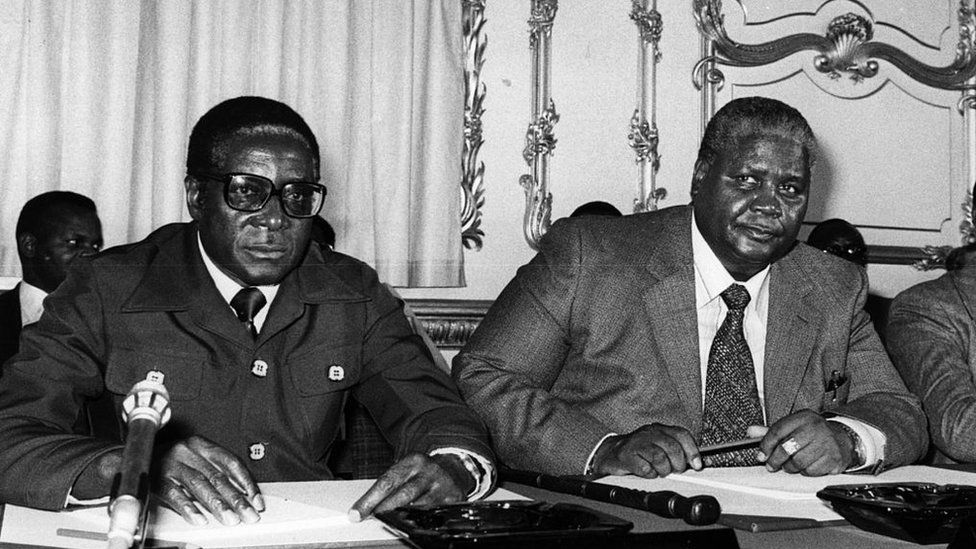 He came to prominence as one of the leaders of a guerrilla war against white minority rule, along with Joshua Nkomo (left). The pair later fell out.