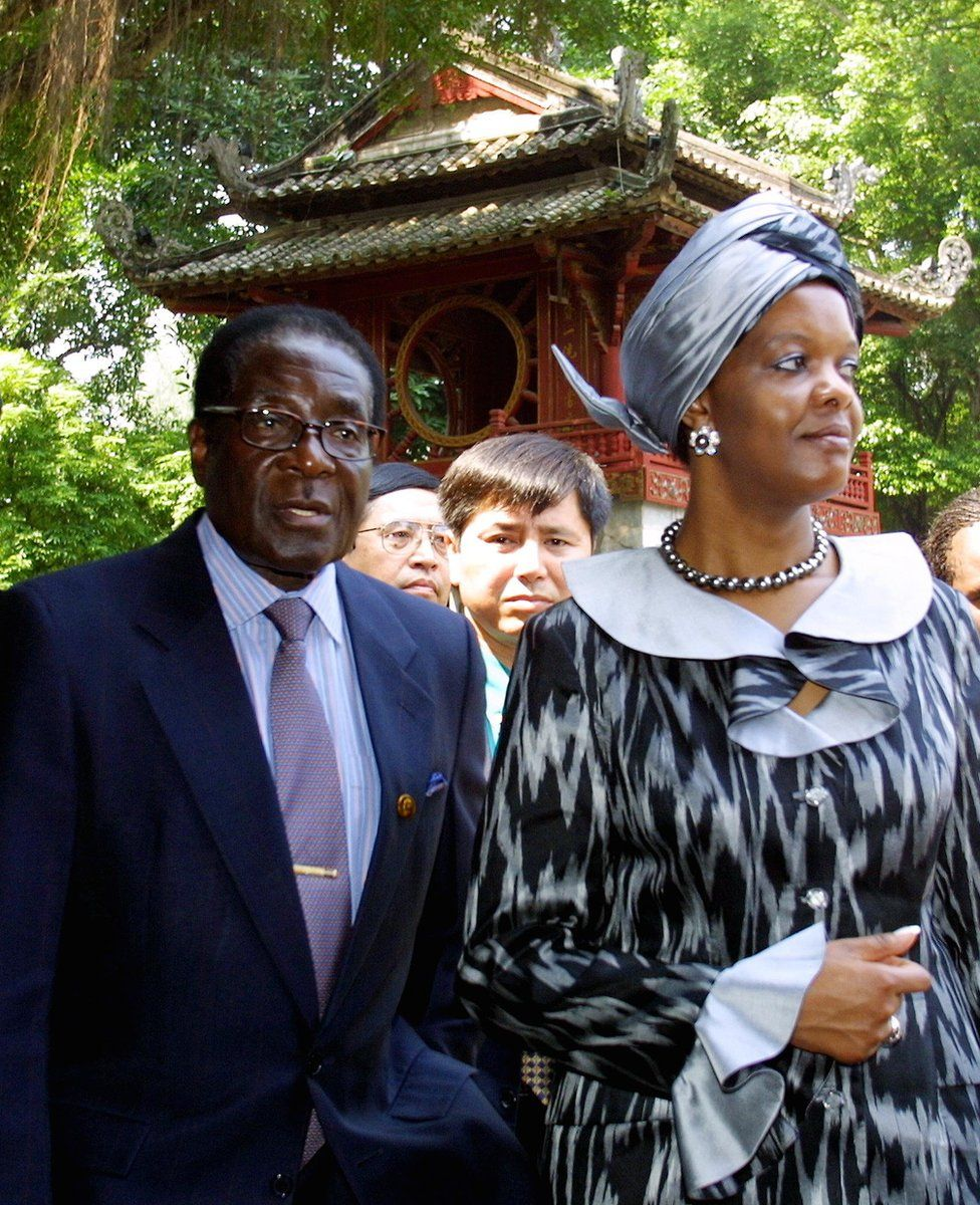 Some Zimbabweans say things started going wrong when he married his young secretary, Grace, in 1996. The pair are seen here while on a tour of Vietnam in 2001