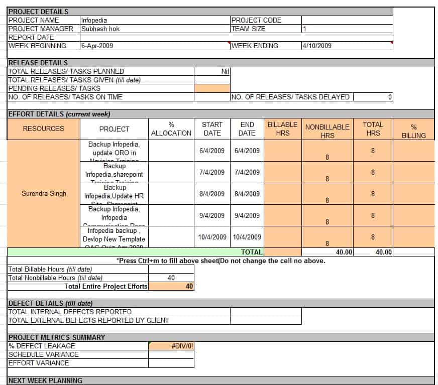 Weekly Status Report Template Excel Download
