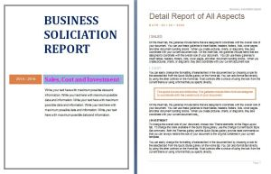 Business Solicitation Report Template