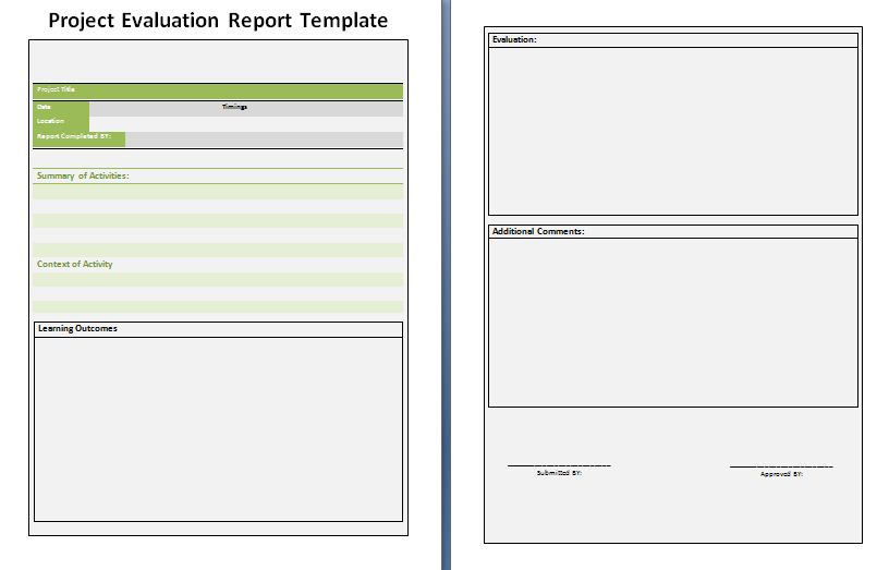 Project Evaluation Report Template  Download It Free