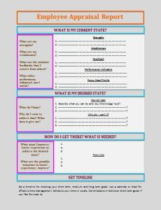 Employee Appraisal Report Template
