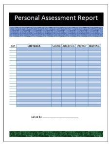 Personal Assessment Report Template