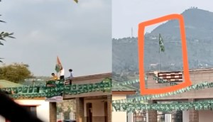 PDP workers remove national flag from govt building and hoist party flag