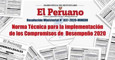 R.M. N° 037-2020-MINEDU, Norma Técnica para la implementación de los Compromisos de Desempeño 2020, www.minedu.gob.pe