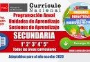 PLANIFICACIÓN CURRICULAR 2020: Programación Anual – Unidades – Sesiones – SECUNDARIA – 1° 2° 3° 4° 5° [Todas las áreas]