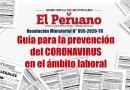 Guía para la prevención del Coronavirus en el ámbito laboral – R.M. N° 055-2020-TR