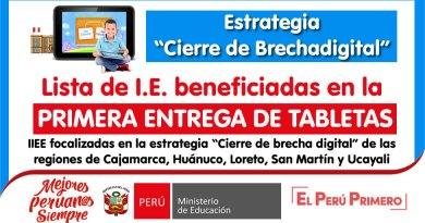 """PRIMERA ENTREGA DE TABLETAS: Lista de I.E. beneficiadas regiones de Cajamarca, Huánuco, Loreto, San Martín y Ucayali, estrategia """"Cierre de Brechadigital"""""""
