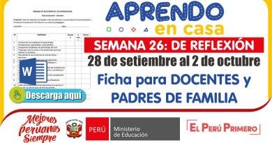 SEMANA DE REFLEXIÓN – Semana  26: Ficha de autoevaluación para DOCENTES y PADRES DE FAMILIA [word]