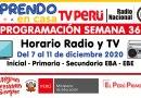 Conoce la PROGRAMACIÓN (Horario Radio y TV) de la SEMANA 36 [Del 7 al 11 de diciembre de 2020]