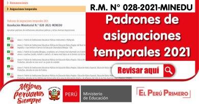 Padrones de asignaciones temporales 2021 [R.M. N° 028-2021-MINEDU]