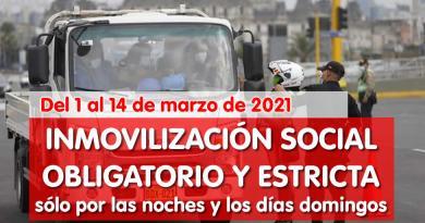 Nuevas Medidas: Del 1 al 14 de marzo de 2021, INMOVILIZACIÓN SOCIAL OBLIGATORIO Y ESTRICTA sólo por las noches y los días domingos