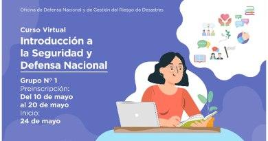 Curso virtual autoformativo «Introducción a la Seguridad y Defensa Nacional», preinscripción de participantes del 10 de mayo al 20 de mayo de 2021