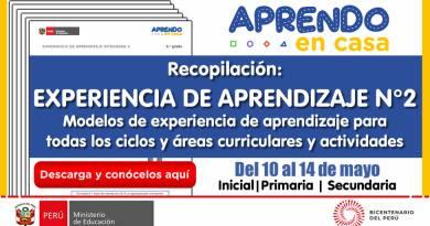 Recopilación: EXPERIENCIAS DE APRENDIZAJE N° 02 [Del 10 al 14 de mayo del 2021] (Modelo de experiencias de aprendizaje y actividades de todos los ciclos y áreas curriculares)[Primaria y Secundaria]