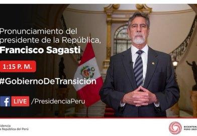 Pronunciamiento del jefe de Estado, Francisco Sagasti: «En democracia, las Fuerzas Armadas no son deliberantes» [18 de junio – 1:15 p.m.]