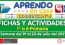 FICHAS Y ACTIVIDADES DE APRENDIZAJE (1° a 6° PRIMARIA) – Semana del 19 al 23 de julio del 2021 [Experiencia de Aprendizaje N° 5]