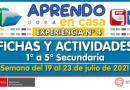 FICHAS Y ACTIVIDADES DE APRENDIZAJE (1° a 5° SECUNDARIA – Por áreas) – Semana del 19 al 23 de julio del 2021 [Experiencia de Aprendizaje N° 4]