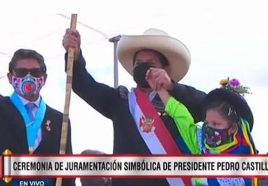 Ceremonia de juramentación simbólica del presidente Pedro Castillo en el Santuario de la Pampa, 29 de julio de 2021